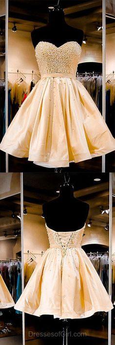 A-line Prom Dresses, Sweetheart Homecoming Dresses, Satin Party Dress, Short Cocktail Dress, Popular Girls Dress