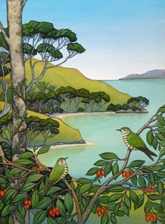 Arrival of the Shining Cuckoos by Clare Reilly Amazing Street Art, Amazing Art, Landscape Art, Landscape Paintings, New Zealand Landscape, New Zealand Art, Nz Art, Naive Art, Wildlife Art