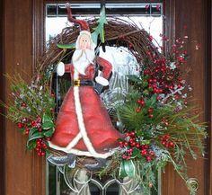 Grapevine Wreath with SANTA and SPARKLY GREENERY by decoglitz