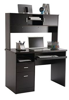 Illustra Transitional Engineered Wood Computer Desk With Hutch 56 12 H x 43 12 W x 21 12 D Espresso by Office Depot & OfficeMax Computer Desk Design, Computer Desks For Home, Computer Desk With Hutch, Pc Desk, Home Desk, Home Office Desks, Computer Tables, Office Desk With Hutch, Desk Hutch