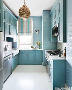 Small kitchen. Beautiful blue pattern