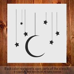 "Stars and Moon. Small Stencil For DIY Projects (11"" x 11"") – StencilsLab Wall Stencils"