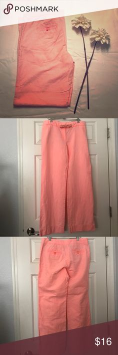 """J. Crew Pale Coral Linen City Fit Pant 🌊🍹☀️ Pre owned in great condition. No tears, rips, stains, snags, or holes. These are listed as pink, but are definitely more of a coral color.                                                                                 ☀️Throw these on with a white tank & some flip flops & look effortlessly casual chic.                                                              ☀️Measurements (while laid flat) Waist= 16"""" Length= 39"""" Inseam= 30.25"""" Bottom leg…"""