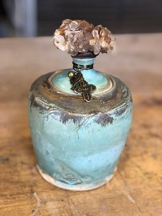 Prayer Jar in Rusty Bronze with Stunning Golden Healer
