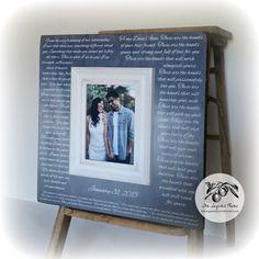 Wedding Vows, Wedding Vows Framed, First Anniversary Gift, Wedding Vow Keepsake, First Dance Lyrics Frame, 16x16 The Sugared Plums Frames