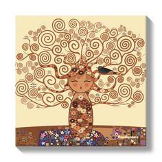 Lienzo Kokeshi El árbol de la vida