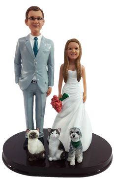 Perfect for pet lovers everywhere! Let us create a custom wedding cake topper with your favorite pets. We can custom sculpt your cat, dog, bird, horse - heck, we can even make a goldfish cake topper along with your wedding one. We start with your pets' photos. We will ask to see the pose, markings and accessories you'd like to include on your custom wedding cake topper. We provide a fully photo proofed process to ensure that you love your creation every step of the way. Custom Wedding Cake Toppers, Custom Cake, Goldfish Cake, Dog Cake Topper, Themed Wedding Cakes, Pet Lovers, Design Your Own, Dog Cat, Wedding Planning