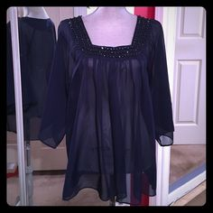 Navy jeweled top Square neck with 3 beautifully stitched rows of beads, wide arms and flowy fit Rue 21 Tops Blouses
