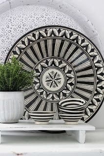 Contemporary take on traditional Moroccan pottery.