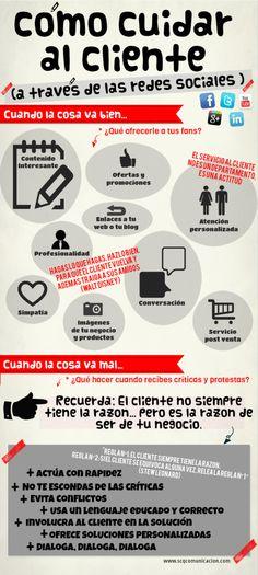 Cómo cuidar a tus clientes con Redes Sociales #infografia #infographic #marketing #socialmedia