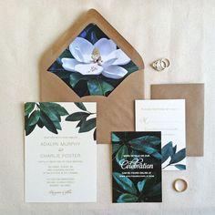Southern Wedding Invitation RSVP // Magnolia Wedding Stationery // Botanical Wedding // Rustic Wedding