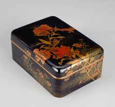 Attributed to Umezawa Ryūshin, 1874–1953, Cosmetic Box (tebako) with Tiger Lilies, Pinks, and Cricket. Kyoto; Taishō/Shōwa period, about 1912–30. Lacquer. Denver Art Museum; Anonymous donor in honor of Kyoko Kita, 2011.258  On view in All That Glistens: A Century of Japanese Lacquer.