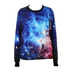 Choies Sweatshirt In Blue Galaxy Print (€28) ❤ liked on Polyvore featuring tops, hoodies, sweatshirts, shirts, sweaters, sweatshirt, galaxy, blue, sweatshirts hoodies and blue top