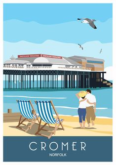 Art poster of Cromer Pier, North Norfolk Coast Posters Uk, Beach Posters, Railway Posters, Design Posters, Cromer Norfolk, Norwich Norfolk, Norfolk Coast, Norfolk England, British Seaside
