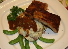 BBQ ribs with mash potato