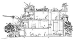 'Planter Box House is aimed to celebrate sustainable living lifestyle and to grow food for self-sufficiency. With multiple passive design strategies to create a low energy house, the house is covered by more than 40 types of edible plants. Box Architecture, Architecture Drawings, Amazing Architecture, Contemporary Architecture, Modern Contemporary, Concrete Planter Boxes, Planters, Kuala Lumpur, Box House Design