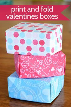 Easy print and fold boxes for a special treat. Perfect for valentines day or any special gift!