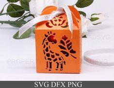 SVG cutting file template Gift Box Giraffe and Palm Leaf