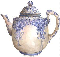 Inspiratie: een litho van een schilderachtige theepot. Arabesque Teapot 10 x 10 lithograph van CShoresInc