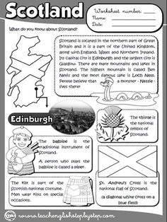 Scotland - Worksheet (B&W version)