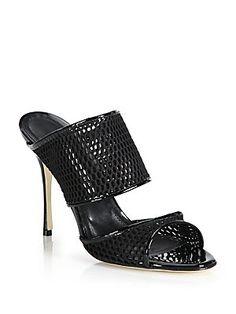 Manolo Blahnik Ripta Mesh & Patent Leather Sandals