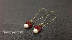 Seed Bead Earrings, Simple Earrings, Crystal Earrings, Beautiful Earrings, Beaded Earrings, Crystal Beads, Earrings Handmade, Crystals, Pearl Jewelry