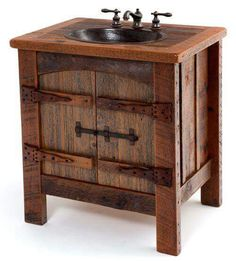 Heritage Collection Reclaimed Wood Vanity With Hand-Hammered Copper Sink - rustic - Bathroom Vanities And Sink Consoles - Woodland Creek Furniture Barnwood Vanity, Rustic Vanity, Rustic Bathroom Vanities, Rustic Bathrooms, Bathroom Furniture, Rustic Furniture, Furniture Ideas, Bathroom Cabinets, Furniture Nyc