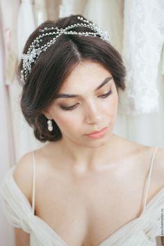 Купить Ободок для прически невесты свадебный. Венок свадебный,венок на голову - белый, ободок, обруч