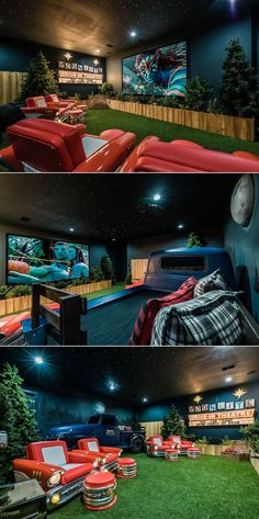 Awesome drive-in themed home theater in an Orlando vacation villa! Check out tho… Awesome drive-in themed home theater in an Orlando vacation villa! Check out those cool seats! Movie Theater Rooms, Home Cinema Room, Movie Theater Basement, Drive Thru Movie Theater, Theatre Rooms, Drive In Cinema, Theater Room Decor, Home Theater Design, Home Theater Seating