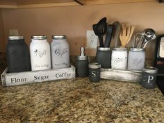 COMPLETE SET!! Utensil holder-(3) wide mouth quart jars canister set-(3) 1/2 gallon mason jars salt and pepper-(2) 1/2 pint jars soap dispenser-(1) pint jar I LOVE doing custom orders so PLEASE message me with any special orders youd like me to make Choose from our wide range of colors for your jars!!!! NOTE: upon ordering, if you choose a different color than the one shown in the picture please reference the name of the color in the notes of the order. S+P shakers can be cleaned with a da