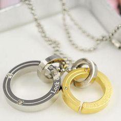 Couple Set: Rhinestone Ring Pedant