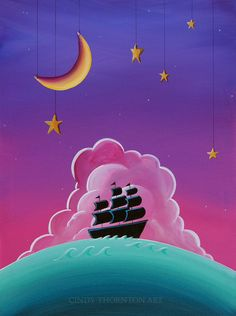 Moonlight Voyage Original Canvas Painting by Cindy Thornton Art