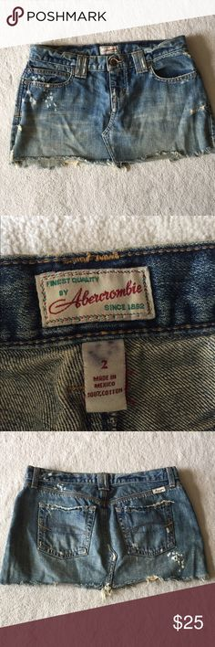 Abercrombie denim mini skirt Abercrombie denim mini skirt. Intentionally distressed as shown. No trades and no modeling. Gently used in good condition. Please ask all questions before purchasing and use the offer button, thanks! Abercrombie & Fitch Skirts Mini