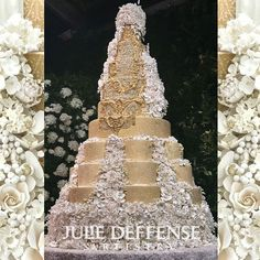 A pattern fit for royalty!  This is one of our most intricate stencil designs ever.  Designed by Julie Deffense for one of the most magnificent cakes we've ever seen!!  Don't worry though, it works on cakes that are smaller than 29 tiers too.  Photo tutorial for stenciling including.  Stencil can be used with Royal Icing, Buttercream, or Airbrush. Stencil Designs, Photo Tutorial, Royal Icing, Compliments, Stencils, Wedding Cakes, Royalty, Airbrush, Don't Worry