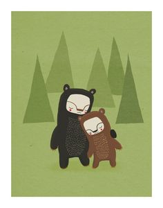 bear nursery art. forest friends in green, brown and black - LARGE 11 x 14 art print for baby, children, kids room. $30.00, via Etsy.