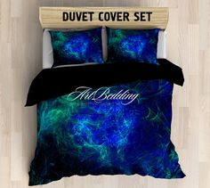 Galaxy bedding set, fractal art space duvet cover set, Deep space nebula Bedding set, stars sateen bedding set