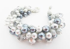 Chunky Crystal and Pearl Beaded Bracelet, Pewter Grey, Silver Grey and White Cluster Bracelet, Wedding Jewelry, Silver Bead Bracelet