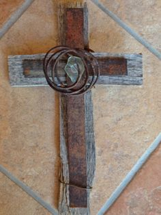 Large Rustic New Mexico Pale Green Desert Sea Glass, Antique Metal, Antique Wire, and Old Wood from Farm Crates Wall Cross on Etsy, $28.00