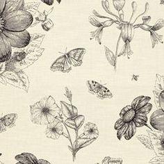 BOTANY - BLACK. Image: calicocorners.com. #thomas_paul #modern_prints #fabric #floral