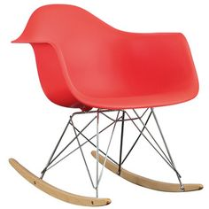 Red Molded Plastic Armchair Rocker in Red | Overstock™ Shopping - Great Deals on Modway Living Room Chairs