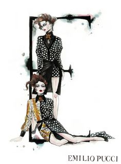 Fashion illustration of Emilio Pucci printed dresses; stylish fashion drawing // Natalia Jheté