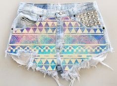 ANY COLOR Aztec Galaxy Print Ripped Frayed Denim High-Waisted Shorts (UV7). $35.00, via Etsy.
