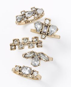 modern classic crystal ring set / ann taylor