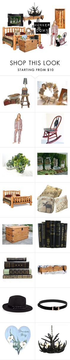 """""""Hunker Down"""" by rusticrevivals on Polyvore featuring interior, interiors, interior design, home, home decor, interior decorating, Bed Head by TIGI, DutchCrafters, Karl Lagerfeld and Muk Luks"""