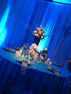 Austin Texas Event, Floral Pinspotting, Room Wash, Uplighting, Drapery Lighting, Blue
