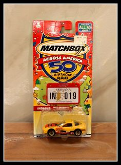 Matchbox Across America 50th Birthday Series Indiana 1997 Chevrolet Corvette Car, Mattel Wheels, Vintage Matchbox Car, New In Package by InfinityCreationsCo on Etsy