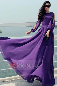 紫のオフ肩の円形カラーマキシ服
