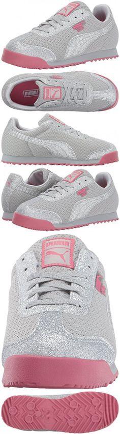PUMA Baby Roma Glitz Glamm Mesh Kids Sneaker, Puma Silver-Puma Silver, 8 M US Toddler