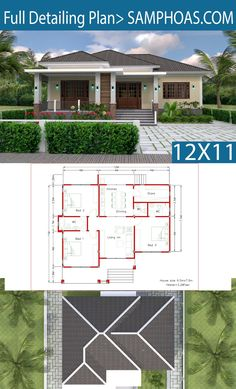 Interior Design Plan with Full Plan - SamPhoas Plan Model House Plan, House Layout Plans, Bungalow House Plans, Dream House Plans, House Layouts, House Floor Plans, Flat House Design, Modern Bungalow House Design, Simple House Design