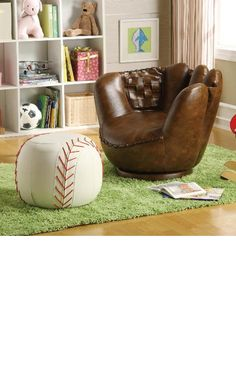 BASEBALL GLOVE CHAIR W/ BASEBALL OTTOMAN